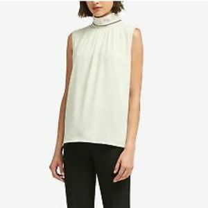 DKNY Embellished Mock-Neck Top